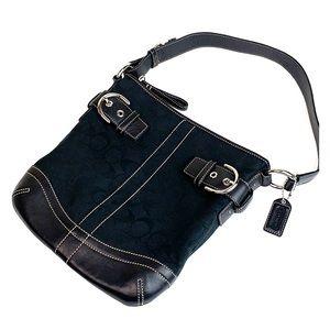 COACH black signature jacquard leather bag EUC